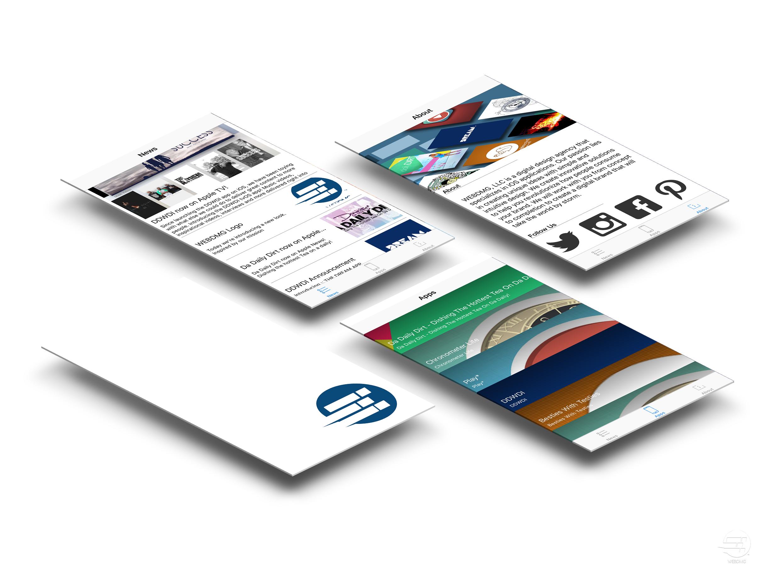 WEBDMG mobile app promo image.